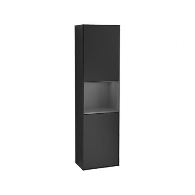 FINION шкаф-пенал 41,8*151,6*27см подвесной, петли слева, с функцией Emotion, LED-пoдcвeтka, цвет - матовый черный, вставка - Anthracite Matt, фото 1