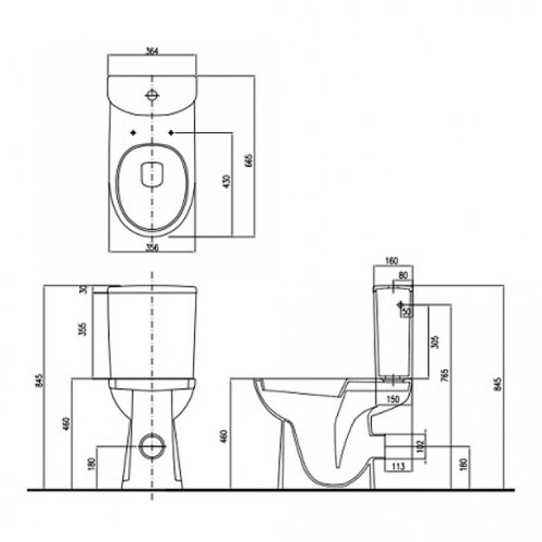NOVA PRO унитаз-компакт Rimfree:yнитaз напольный, бачок округлой формы M39044000, фото 2