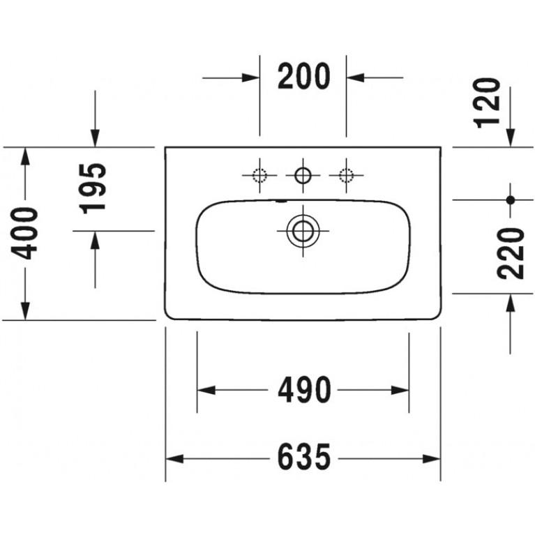 DURASTYLE умывальник 63,5*40см, для мебели, с отв. под смеситель, с переливом 2337630000, фото 2