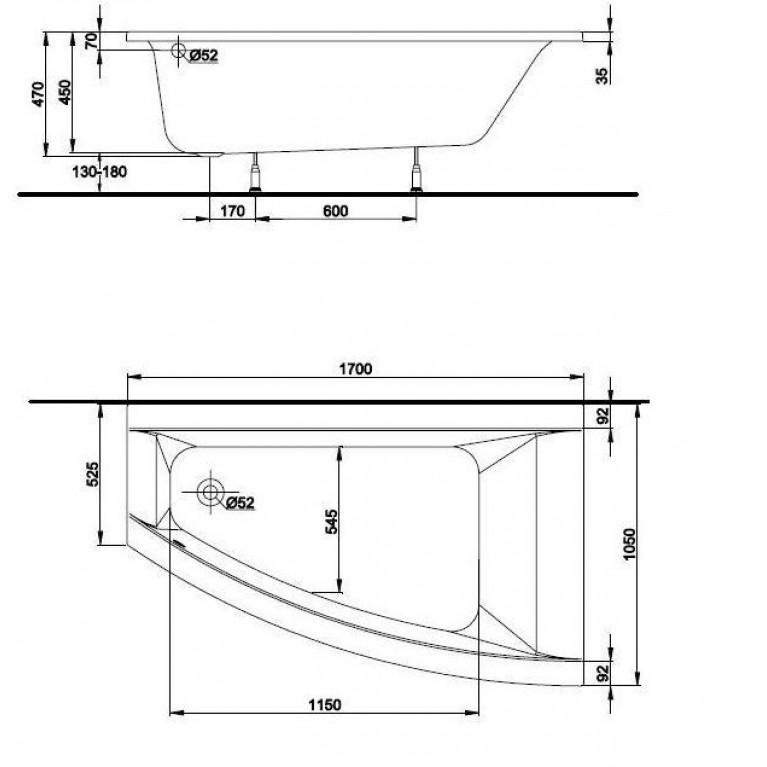 CLARISSA ванна 170*105см, с ножками, левая XWA0871000, фото 2