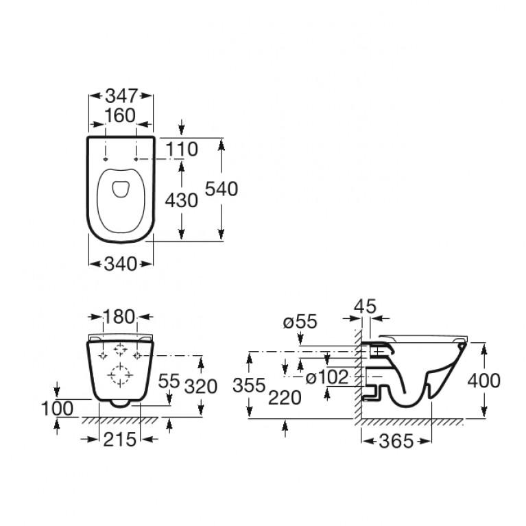 Комплект: GAP Rimless унитаз подвесной с сиденьем Slim A34H470000+458.126.00.1, фото 2