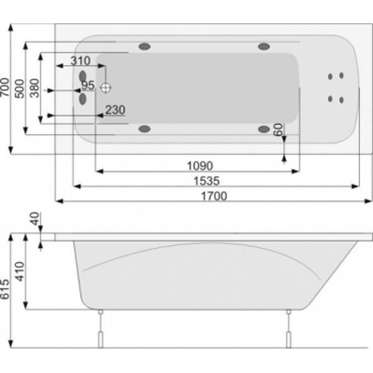 KLIO ванна  170x70 + ножки PWPA410ZN000000