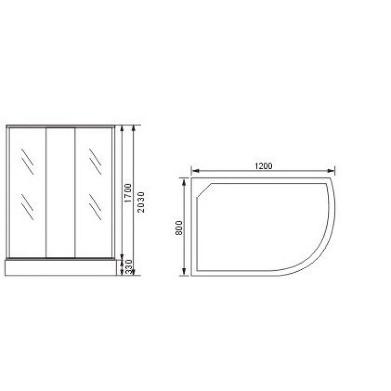 "VICTORIA-SATIN душевая кабина с глубоким поддоном 1200*800*2030 левая, стекло (4мм) ""FABRIC"" (в комп. с глуб, поддоном) 8133N, фото 2"