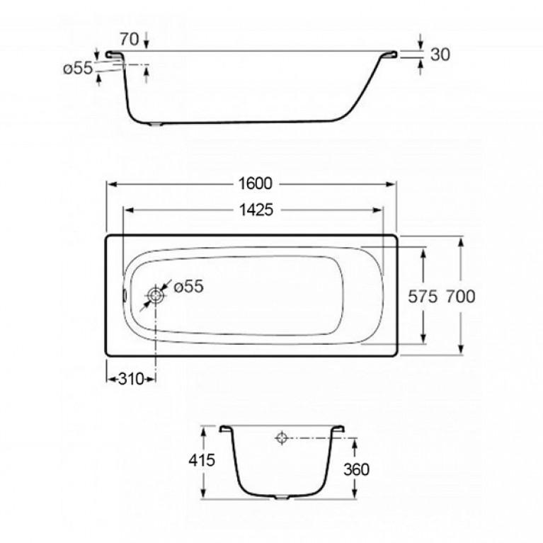 CONTESA ванна 160*70см прямоугольная, с ножками A235960000+A291021000