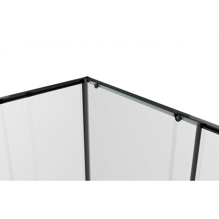 A LÁNY Душевая кабина квадратная 900*900*1950 (стекла+двери), двери раздвижные, стекло прозрачное  6 мм, профиль черный 599-551/1 Black, фото 4