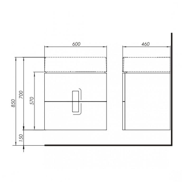 TWINS шкафчик под умывальник 60 см с двумя ящиками, белый глянец 89492000