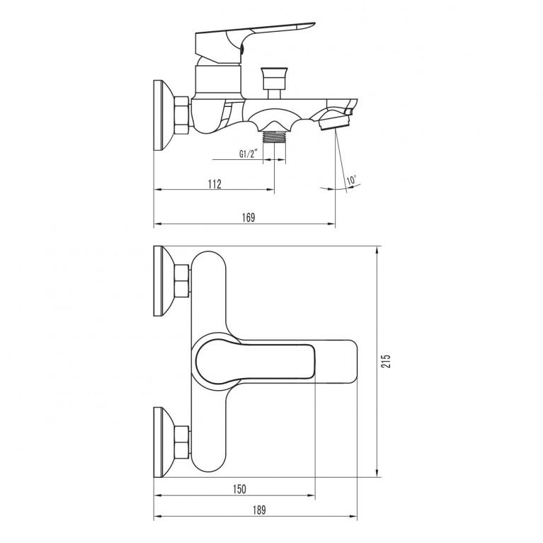 KUCERA смеситель для ванны, хром 35мм 10105, фото 2