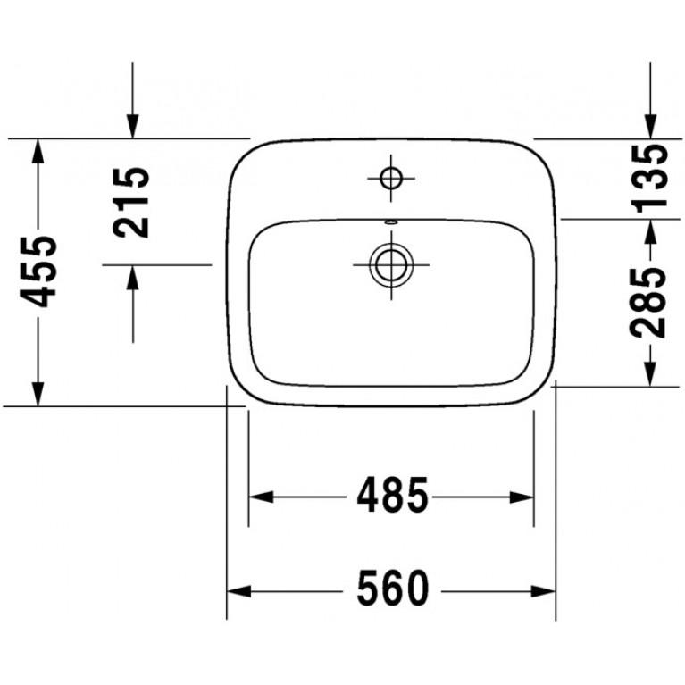 DURASTYLE умывальник 56*45,5см, встраиваемый сверху, с переливом, с 1м отв. под смеситель, с покрытием WonderGliss 03745600001, фото 3