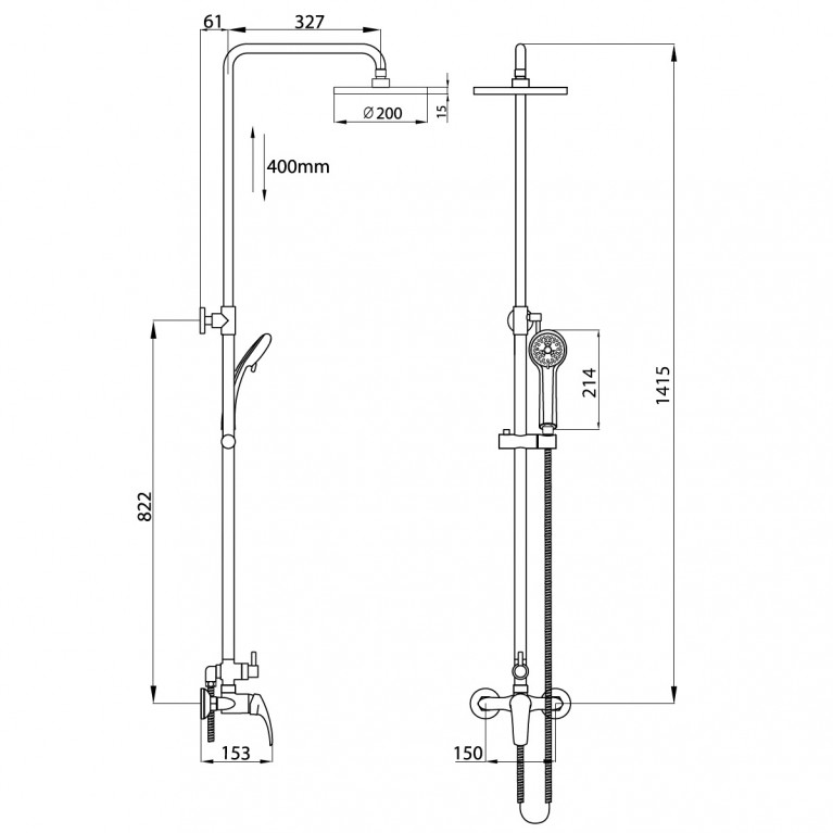 JESENIK система душевая  (смеситель для душа, верхний и ручной душ, 3 режима, шланг 1,5м) T-15140