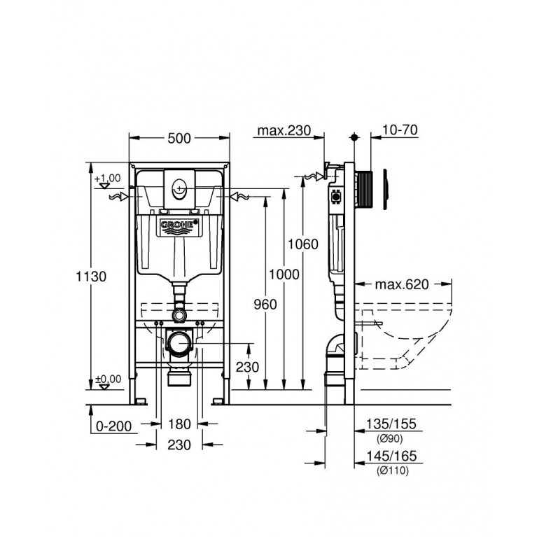 Rapid SL Инсталляция для подвесного унитаза 3 в 1  БЕЗ ПРОКЛАДКИ 38722001