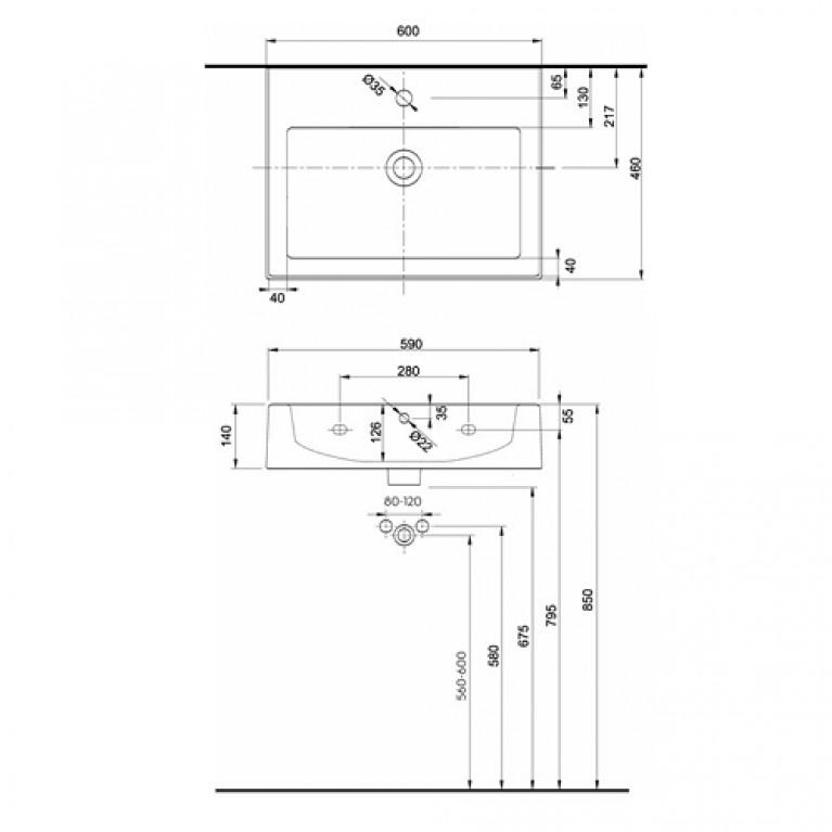 TWINS умывальник с прямоугольной раковиной L51160000