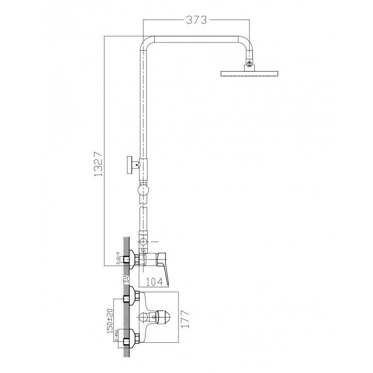 WITOW система душевая (смеситель для душа, верхний и ручной душ) T-15080, фото 2