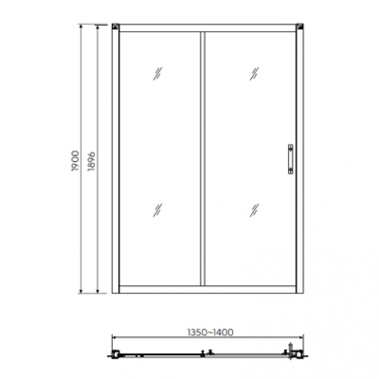GEO 6 двери 140см, раздвижные 2-элементные, закаленное стекло, серебряный блеск, часть 1/2, фото 2