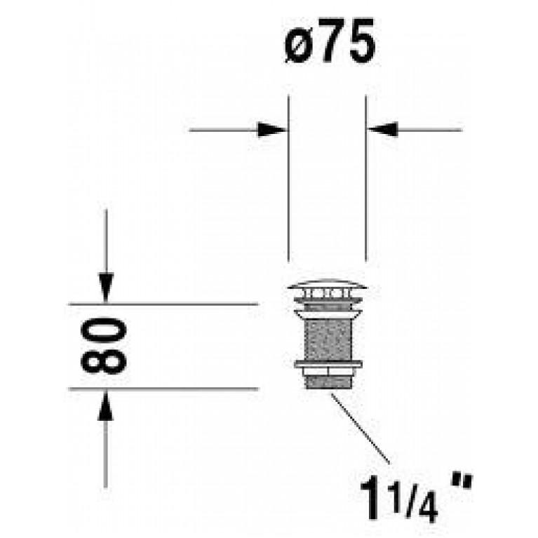 ARCHITEC выпуск 8см, для умывальника без перелива, хром 0050381000, фото 2
