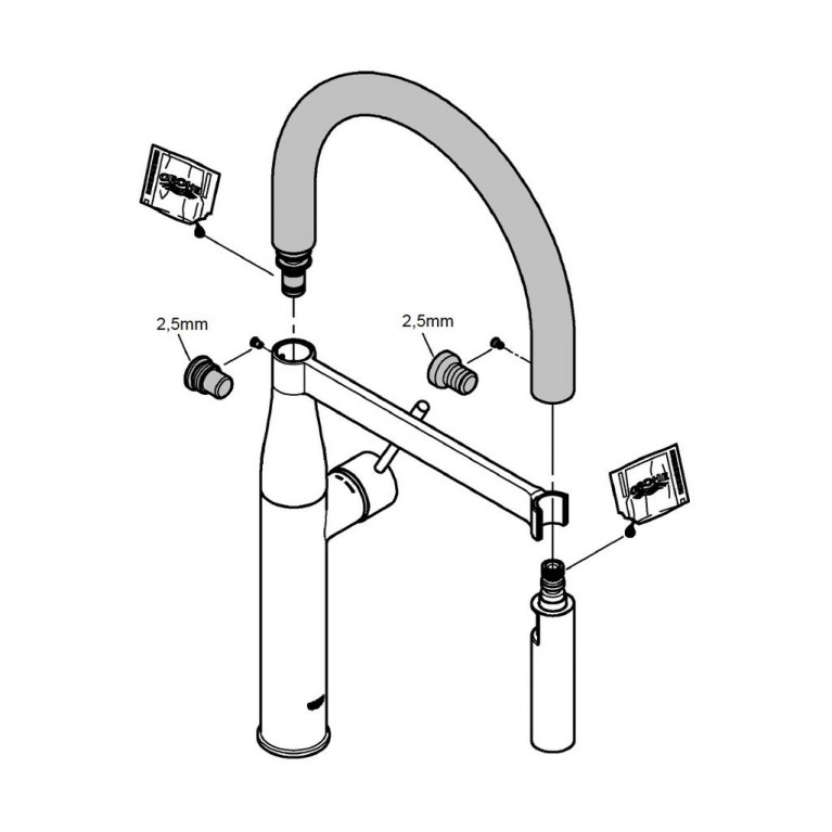GROHFlexx Шланг гибкий с пружиной для смесителя на мойку, цвет хром/красный 30321DG0, фото 3