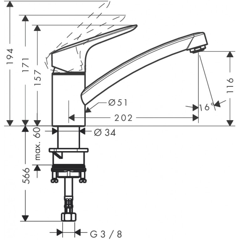 MyCube S Смеситель для кухни, однорычажный (steel optic) 13814800, фото 2