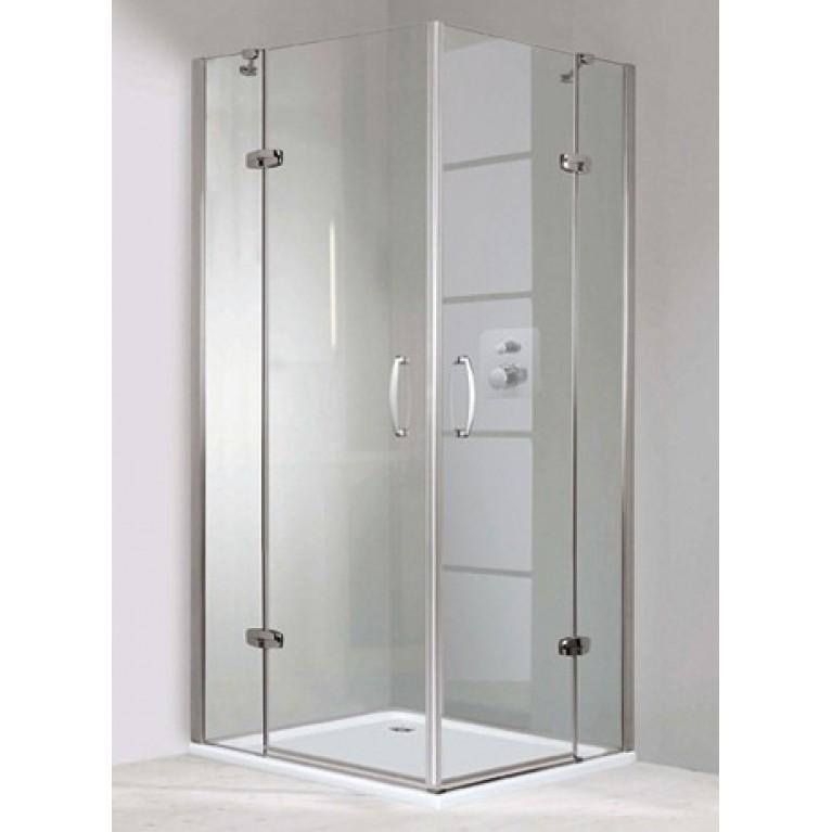 AURA ELEGANCE дверь распашная с неподв сегментом  для углового входа 100*100*190см (проф мат серебро, стекло прозр), фото 1