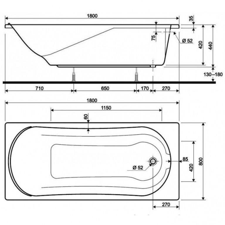 COMFORT ванна прямоугольная 180*80 см, в комплекте с сифоном Geberit 150.520.21.1, с ножками SN7 XWP308000G, фото 2