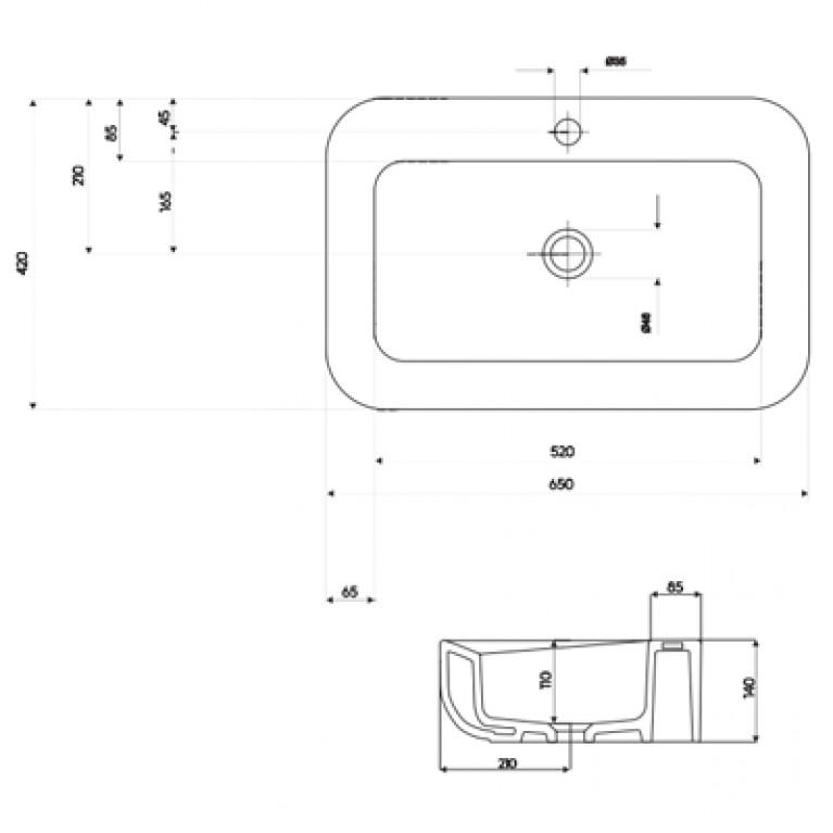 COCKTAIL умывальник встраиваемый на столешницу с отверстием, без перелива 65*42 см (пол.) L31666000, фото 2