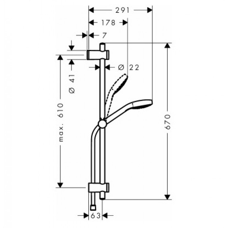 MySelect E Multi EcoSmart Душевой набор 0,65м 26750400, фото 2