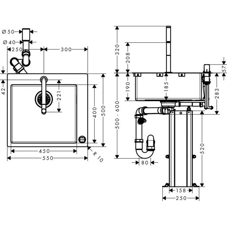 C71-F450-06 Мойка для кухни со смесителем, однорычажным 43201000, фото 5