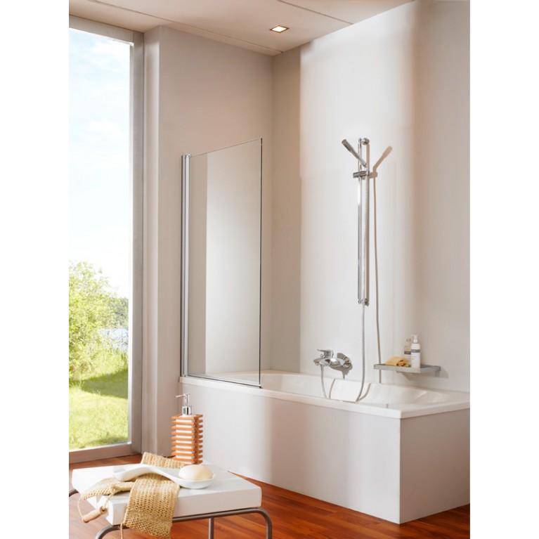 Шторка в ванную (стекло прозрачное, цвет профиля глянц хром)
