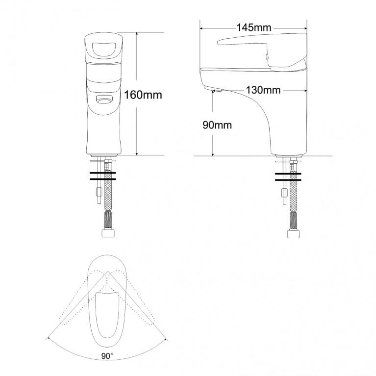 BOSS смеситель для умывальника однорычажный,  хром 40мм RBZ077-1, фото 2