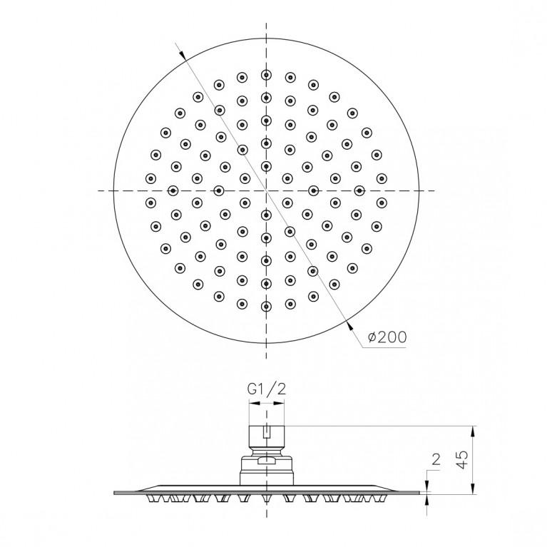 Душ верхний  200 мм, 2 мм, сталь S200SS2, фото 2