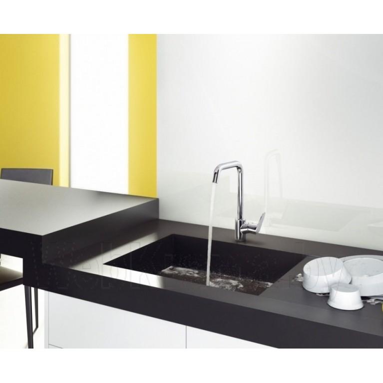 Focus 280 Смеситель для кухни, однорычажный, с поворотным изливом + Metaflex``C Шланг душевой 1.60 м 31817000+28266000, фото 4