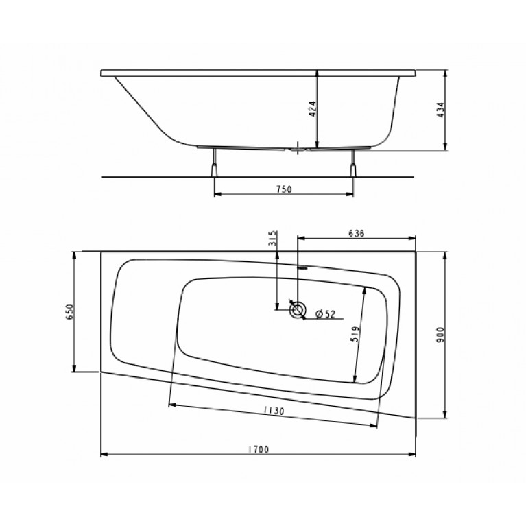 SPLIT ванна 170*90см, асимметричная ванна, правая, центральный слив, с ножками SN0 XWA1670000, фото 2