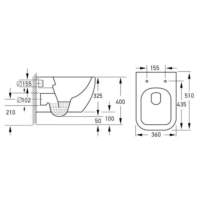 Комплект: ORLANDO Rimless Унитаз подвесной, сиденье Slim slow-closing+Komплekт инсталляции Volle Master 4в1(хром) 13-35-373+141515, фото 2
