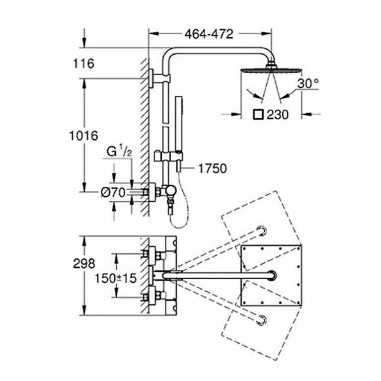Euphoria XXL 230 Душевая система с термостатом для настенного монтажа, хром 26187000, фото 2