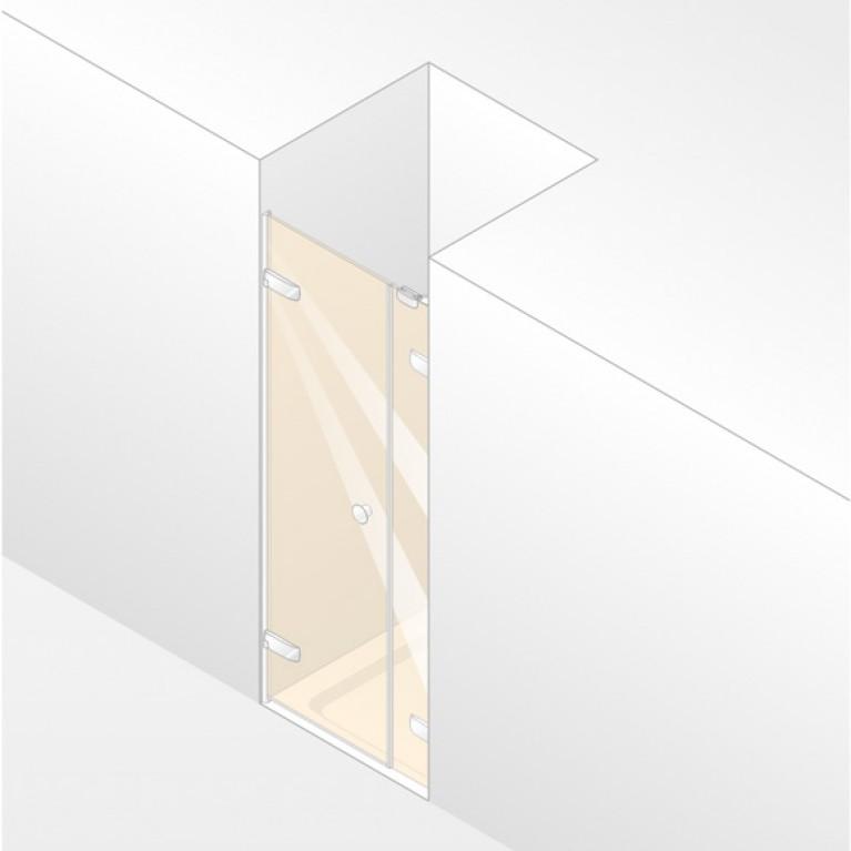 ENJOY ELEGANCE дверь распашная с допэлементом для ниши 100*200см (проф гл хром,стекло прозр Antipl, ручка comfort), фото 1
