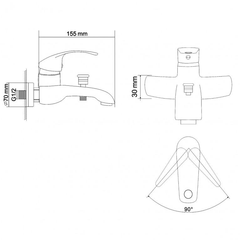 BARON смеситель для ванны однорычажный,  хром  40мм RBZ014-3