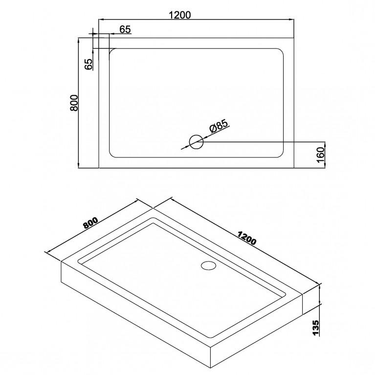 A LÁNY поддон прямоугольный акриловый 800*1200*135мм, в комплекте с сифоном (антизапах) 599-550/2, фото 2