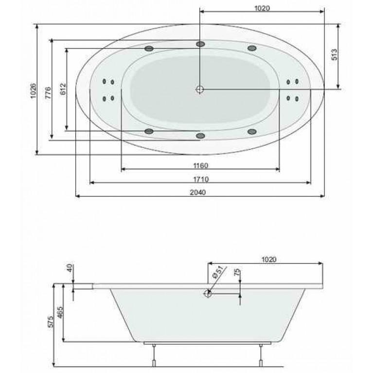 AURA ванна 204*103см, с системой гидромассажа Smart 2+ PHRVO10ST2C1960, фото 2