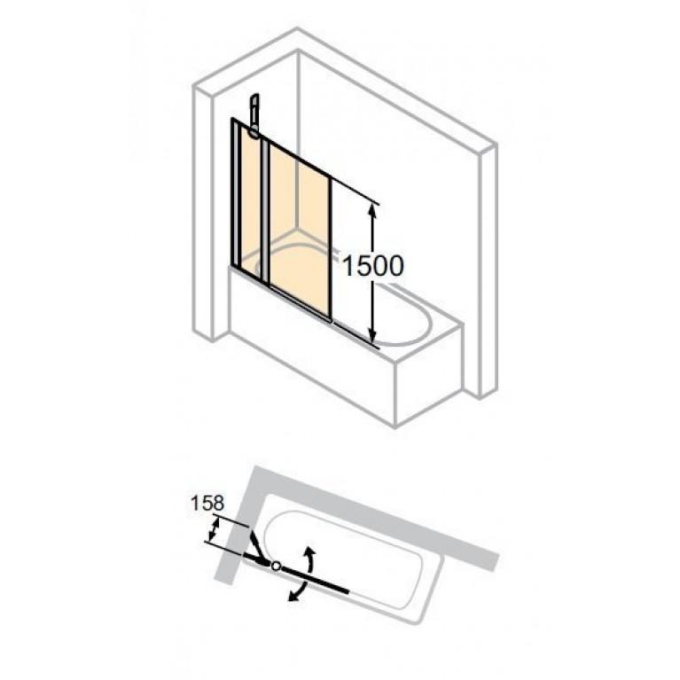 DESIGN PURE шторка для ванны, 155*150см, профиль мат. сер., стекло с Anti-Plaque + Bubbles, односекц.с неподвижн.сегментом, фото 3