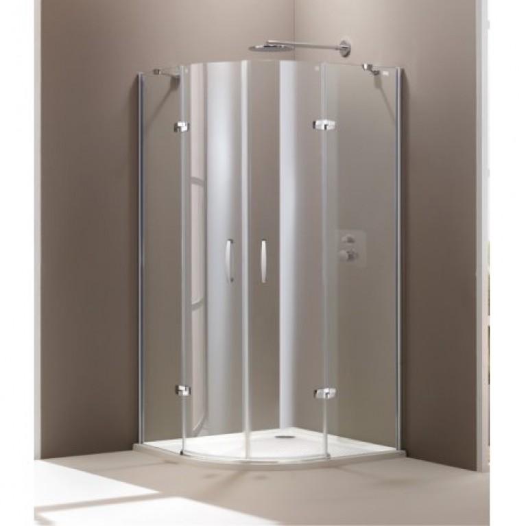 AURA ELEGANCE дверь распашная  с неподвижными сегментами 100*100*190см (проф мат сер, стекло прозр)