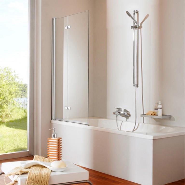 501DESIGN штора на ванну двухэлементная 120 см (профиль мат серебро,стекло прозрачное)