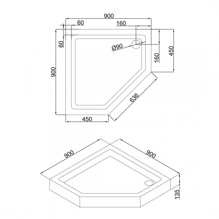 A LÁNY Душевая кабина пятиугольная, реверсивная, 900*900*2085(на поддоне 135 мм), дверь распашная, стекло прозрачное  6 мм, профиль хром 599-552, фото 4