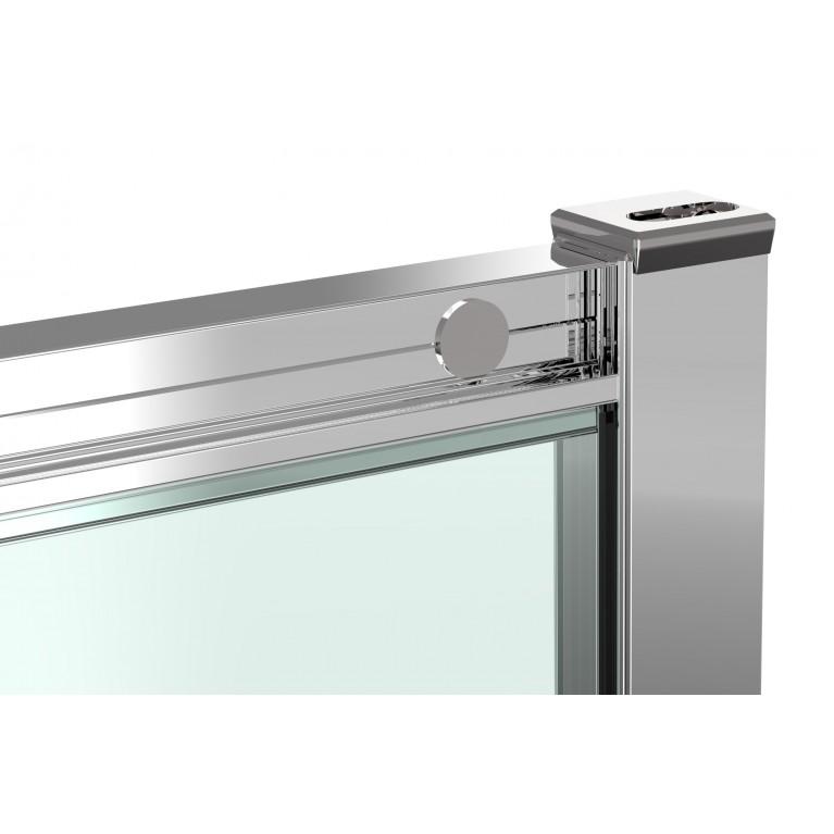HÉVÍZ Душевая кабина квадратная 900*900*1950мм(стекла+двери), двери раздвижные, стекло прозрачное  6 мм, профиль хром 599-077/1, фото 3