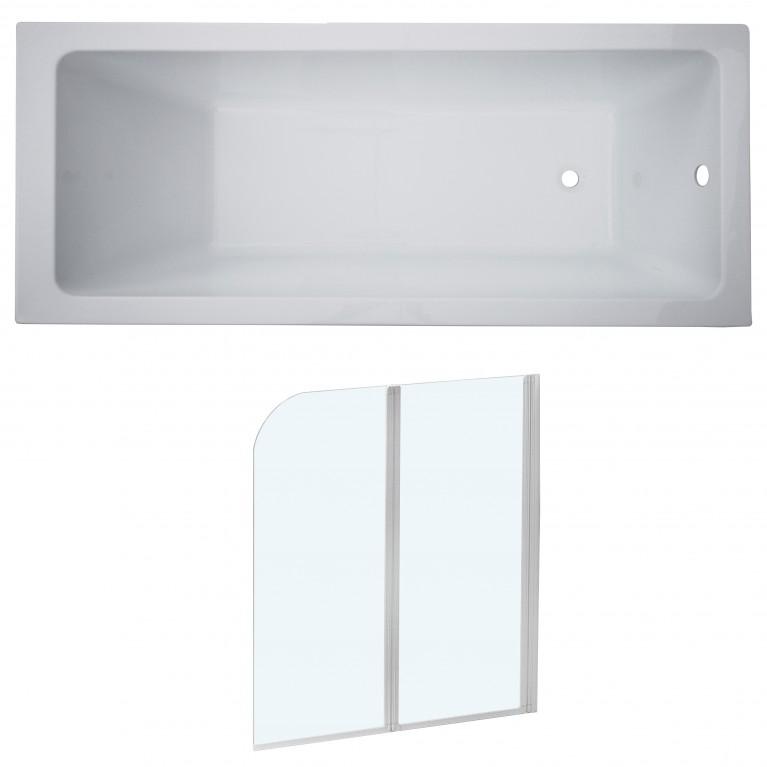 Комплект: LIBRА ванна без ножек + ЕGER шторка на ванну, профиль белый