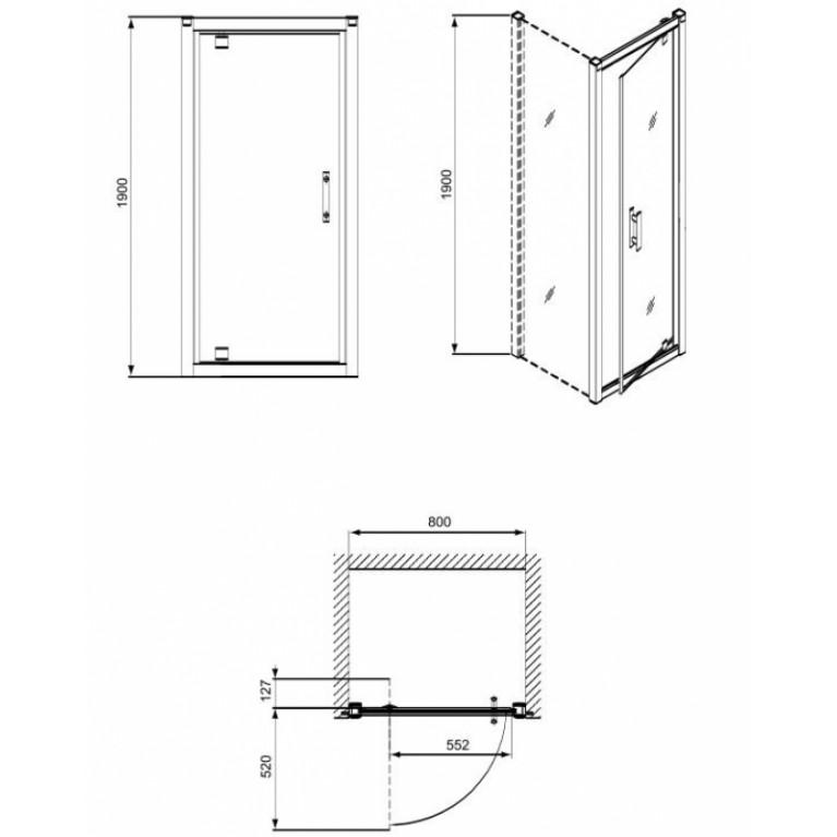 GEO 6 двери pivot, 80 см, закаленное стекло Prismatic, серебряный блеск GDRP80205003, фото 2