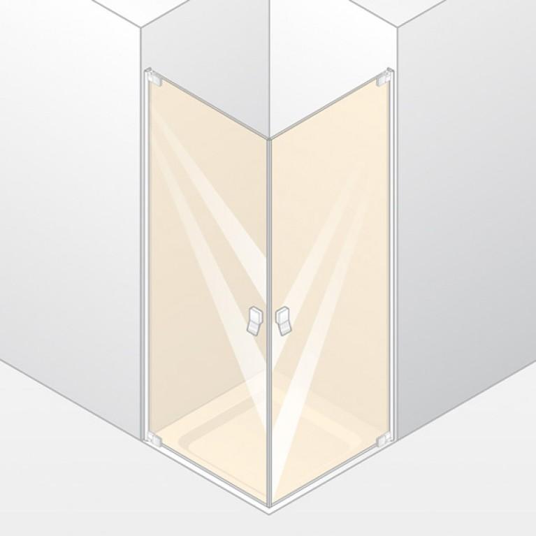 STUDIO BERLIN кабина душевая с угловым входом 100*100см (профиль хром, стекло прозр Anti plaque)