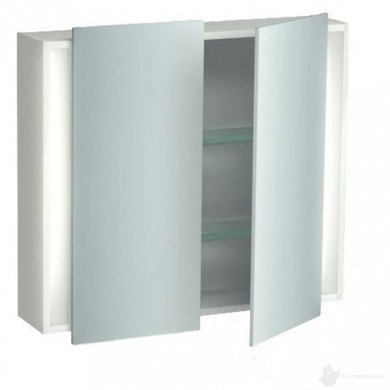 KETHO зеркальный шкафчик 800*180, 1 розетка внутри, 2 светильника 14 W, 1 сенсорный выключатель, цвет 43 Базальт матовый, фото 1