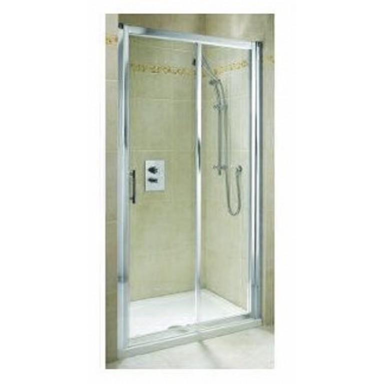 GEO 6 двери 140см, раздвижные 2-элементные, закаленное стекло, серебряный блеск, часть 2/2, фото 1