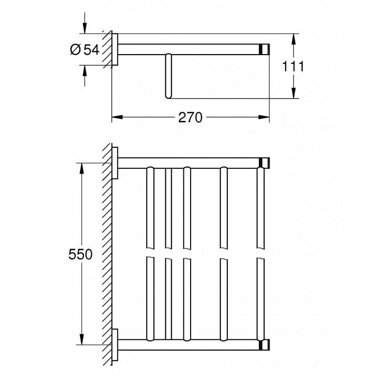 Essentials Multi Держатель для полотенец, хром 40800001