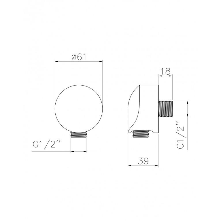 """Подсоединение шланговое  1/2 """" HC01, фото 2"""