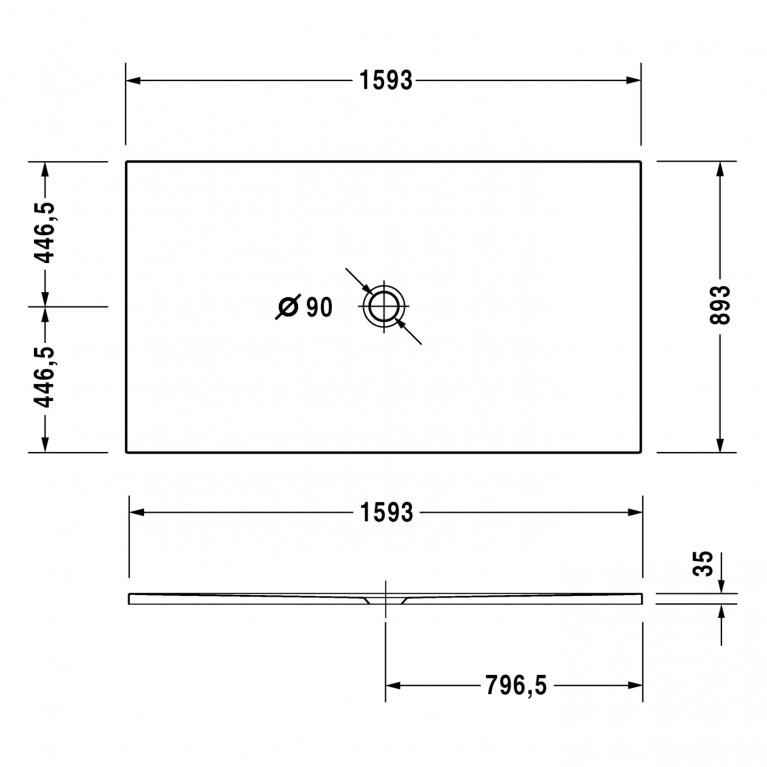 DURAPLAN поддон 160*90*3,5см, сверхплоский, прямоугольный, с покрытием Antislip 720092000000001, фото 2