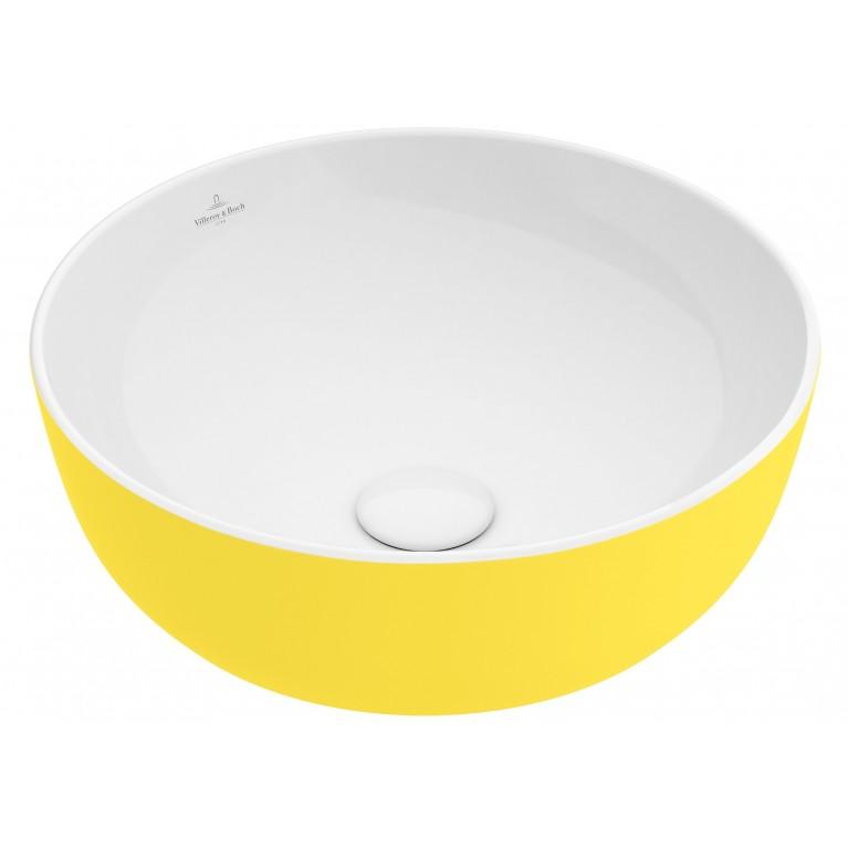 ARTIS умывальник 43см, для уст. на столешницу, без зоны для отв. для монтажа смес., без перелива, цвет лимон